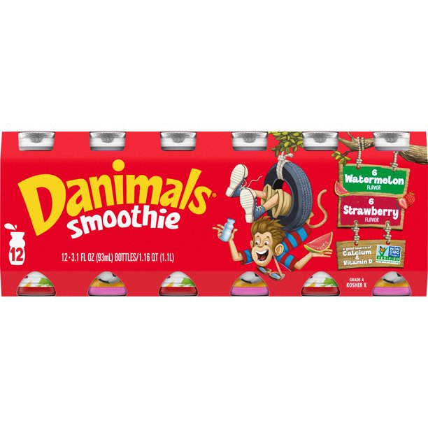 Danimals Strawberry Explosion & Wild Watermelon Variety Pack Smoothies, 3.1 Oz. Bottles, 12 Count