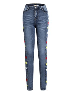 Women's Stretchy Jeans Legging Casual Slim Pencil Pants Skinny Denim Trousers