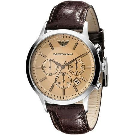 Emporio Armani Men's Classic Chronograph Cream Face Brown Leather Strap Watch AR2433