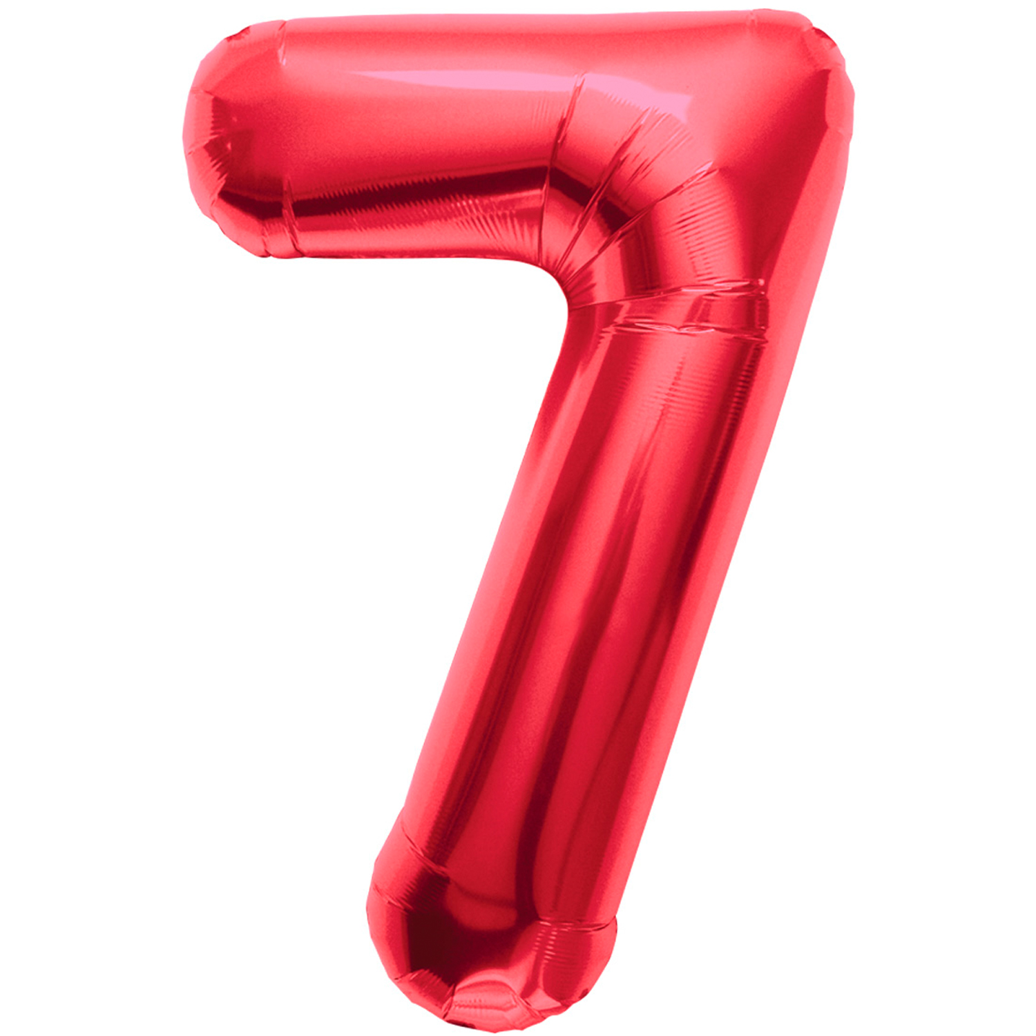 """Northstar Solid Color Number 7 Jumbo Helium Shape 34"""" Foil Balloon, Red"""