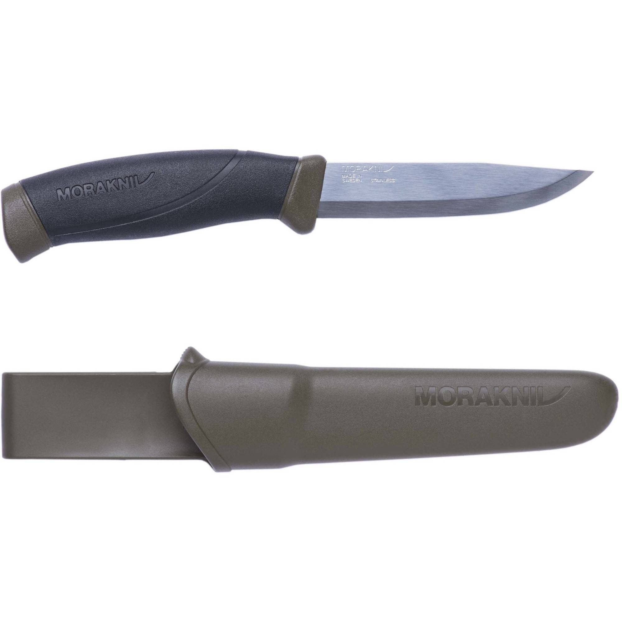 Morakniv Companion Fixed Blade Stainless Steel Knife, Military Green by Mora of Sweden