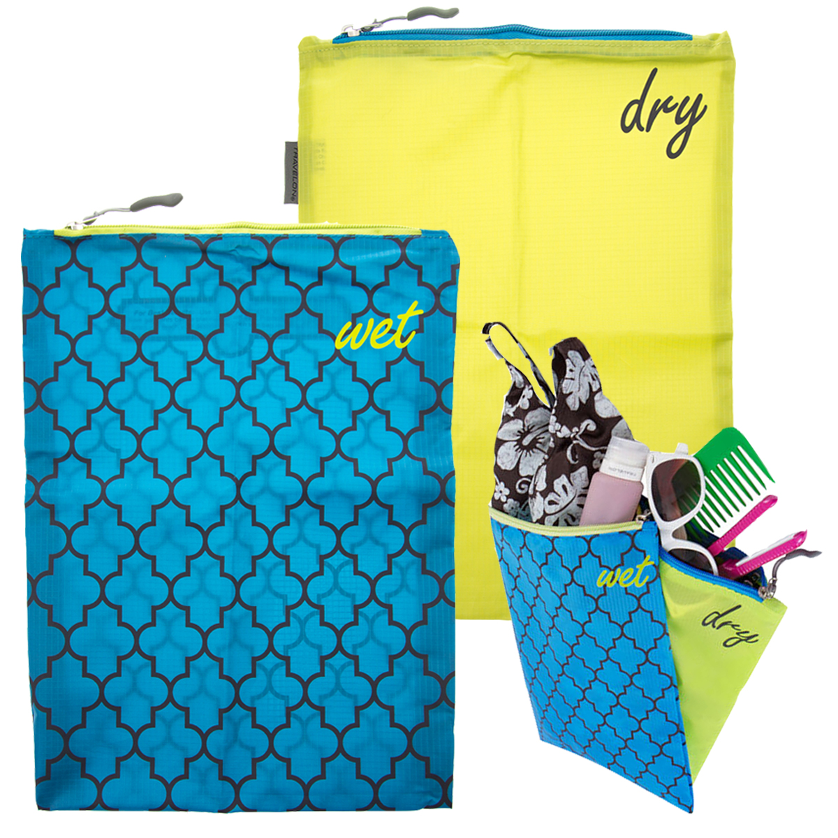 4pc Travelon Wet & Dry Bags Set Water-Resistant For Baby Travel Beach Bikini Diapers Gym