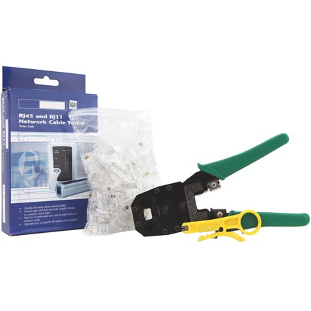 100 Connectors - Techno Earth Network Tool Kit Cable Tester +Crimp Crimper +100 Rj45 Cat5 Cat5e Cat6 Cat7 Connector Plug