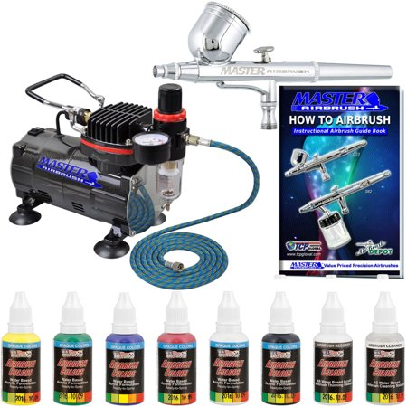 Master Airbrush Multi-Purpose Gravity Feed Airbrushing System Kit - 6 Primary Opaque Colors Acrylic and Air