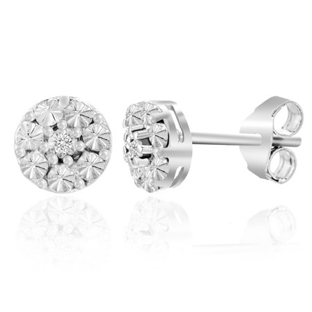 Ladies Diamond Accent Round Post Earring in Sterling -