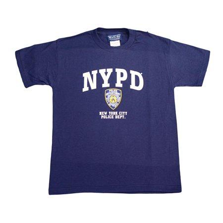 NYPD Kids Short Sleeve Screen Print T-Shirt Navy White Yellow XS (Navy Blue Kids Shirt)