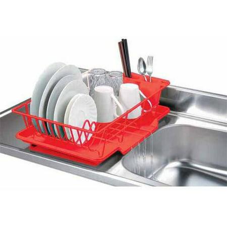 Home Basics 3-Piece Dish Drainer Set, Red ()
