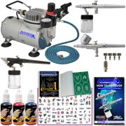 Master Airbrush Dual Fan Air Compressor 3 Airbrush Custom Body Art Kit, 3 Color Temporary Tattoo Paint Set, 100 Stencils