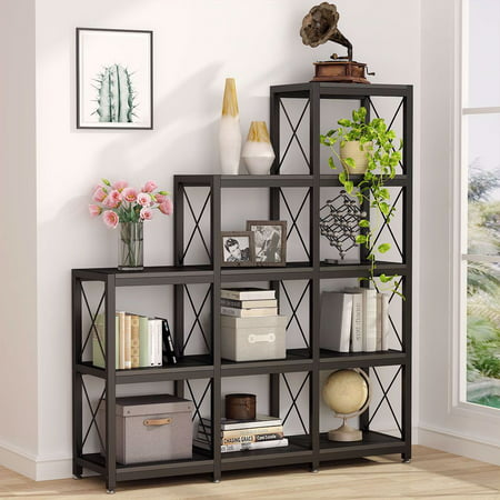 Tribesigns 12 Shelves Bookshelf, Industrial Ladder Corner Bookshelf 9 Cubes Stepped Etagere Bookcase, 5-Tier Industrial Style Bookcase/Metal and Wood Bookshelf Furniture for Collection Home Office