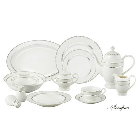 Lorren Home Trends Bone China 57 Piece Dinnerware Set  Service For 8