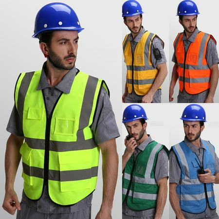 Hi-Vis Safety Vest Reflective Jacket Security Waistcoat Warp Knitting Cloth
