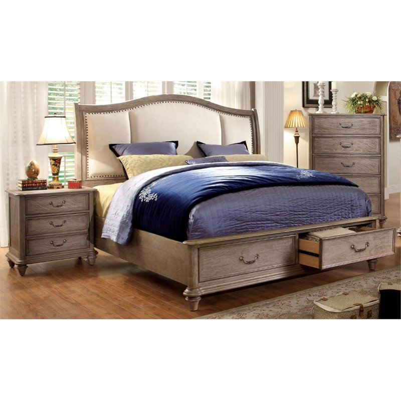 Furniture of America Bartrand 2 Piece King  Panel Bedroom Set