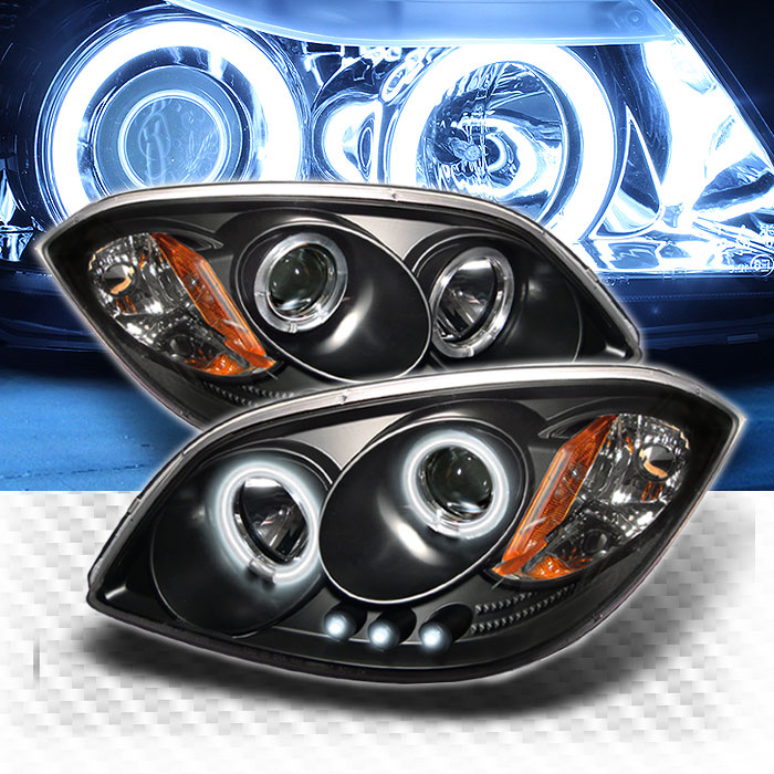 CCFL Halo 2005-2010 Chevy Cobalt LED Projector Headlights Black Head Lights  Pair Left+Right 2006 2007 2008 2009