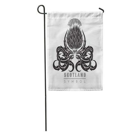KDAGR Capital Silhouette of Thistle Leaf Pattern Symbol Scotland Black Garden Flag Decorative Flag House Banner 12x18 - Inverted Thistle Pattern