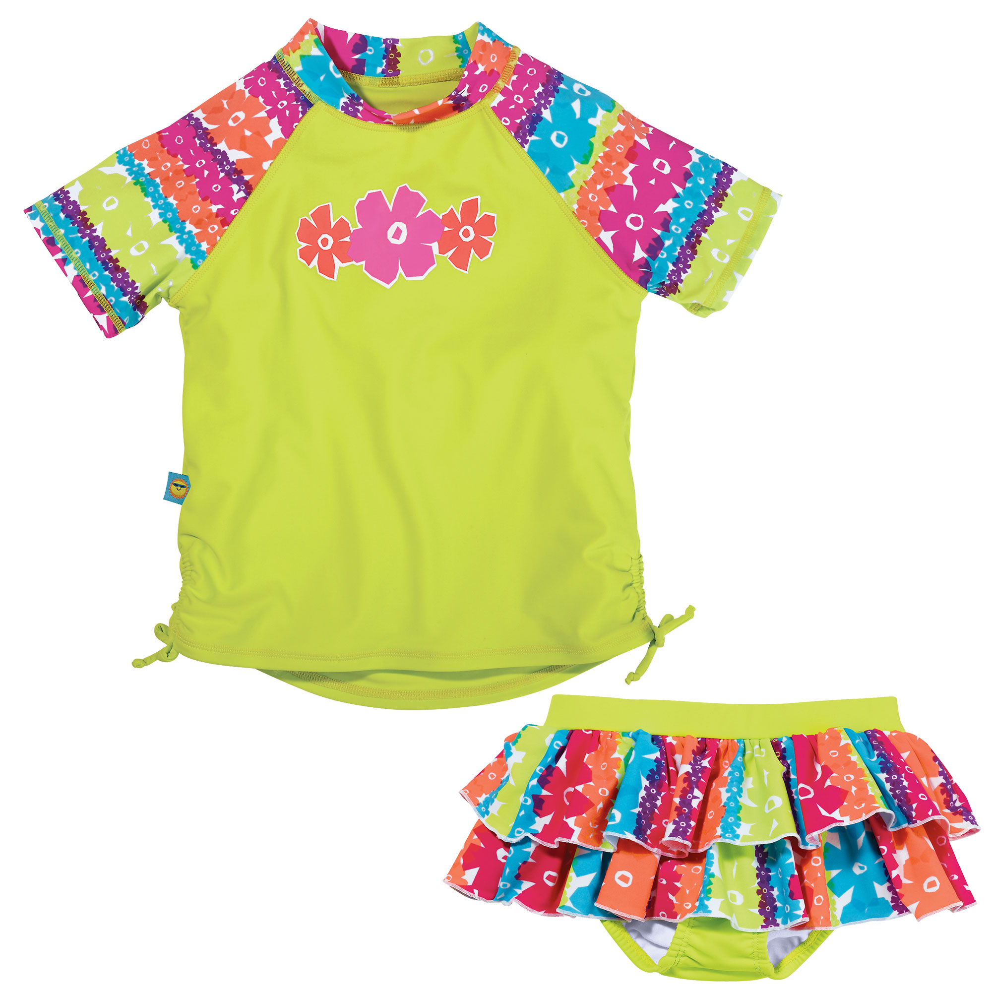 Sun Smarties Baby Girl Swim Diaper Skirt and Rashguard - Lime Green and Floral Design - 2 Piece Swimsuit