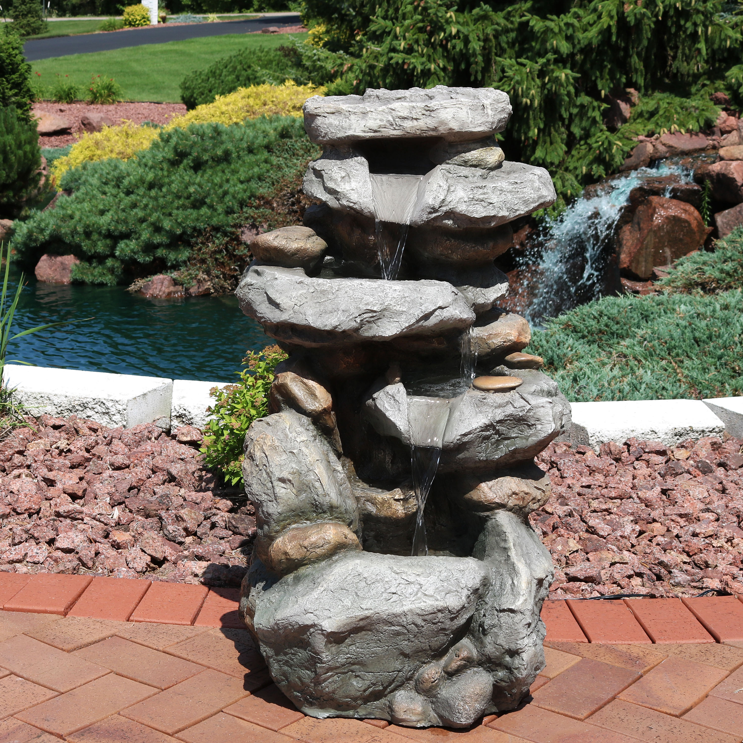 Sunnydaze Rock Falls Outdoor Water Fountain with LED Lights, 34 Inch Tall by Sunnydaze Decor