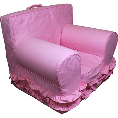 CUB CHAIRS Comfy Small Pink with Ruffles Kid's Chair with Machine Washable Removable Cover