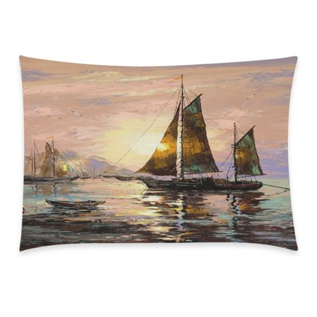 ZKGK Home Bathroom Decor Sunset Painting Decorative Boat Pillowcases Decorative Pillow Cover Case Shams Standard Size for Couch Bed-Colorful 20x30 Inch Sail Boat Oil Painting Sea Sunset ()