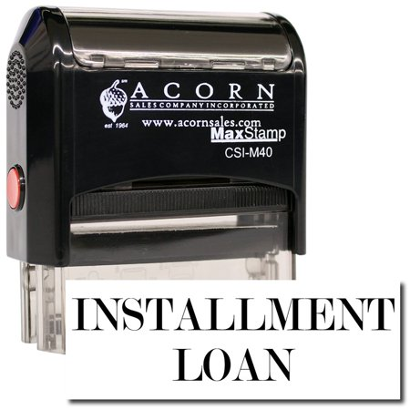 Large Self Inking Installment Loan Stamp With Orange Ink