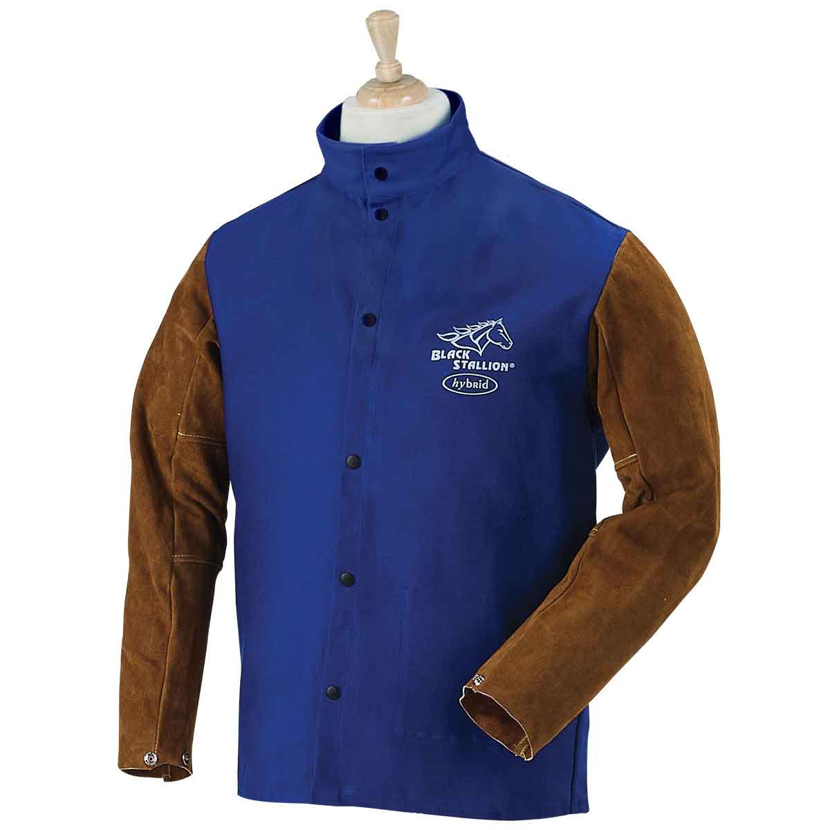 Black Stallion FRB9-30C/BS Hybrid FR Cotton/Cowhide Welding Jacket, Royal Blue, Medium