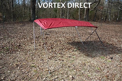 """New BURGUNDY  MAROON STAINLESS STEEL FRAME VORTEX 4 BOW PONTOON DECK BOAT BIMINI TOP 8' LONG, 67-72"""" WIDE (FAST... by VORTEX DIRECT"""