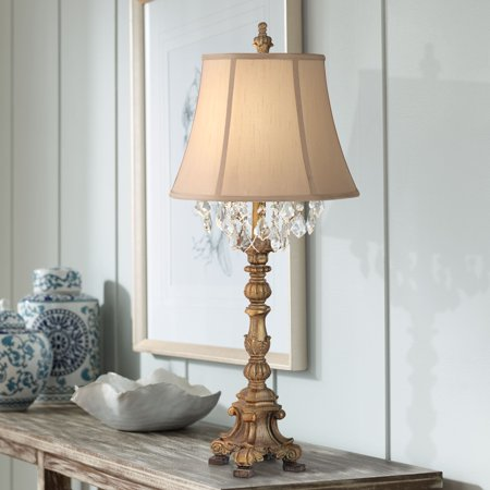Barnes and Ivy Cottage Table Lamp Crystal Gold Candlestick Beige Bell Shade for Living Room Family Bedroom Bedside Nightstand ()