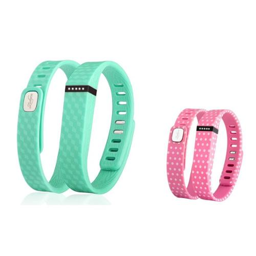 Zodaca 2-pack Small Size TPU Replacement Band Wristband with Clasp for Fitbit Flex Bracelet - Mint Green+Pink Polka Dot