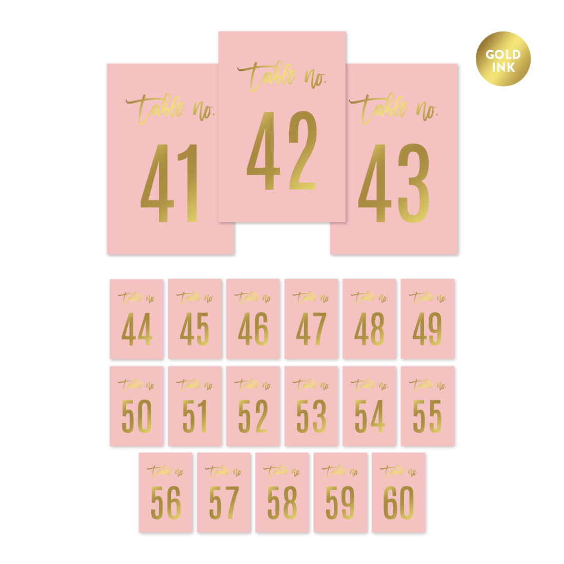 Blush Pink and Metallic Gold Confetti Polka Dots, Table Numbers 41 - 60 on Perforated Paper, Single-Sided, 4 x 6-inch