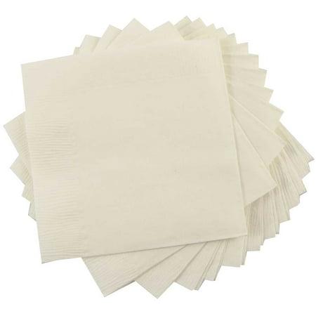 JAM Paper Bulk Lunch Napkins, Medium, 6 1/2 x 6 1/2, Ivory, 600 Napkins/Box