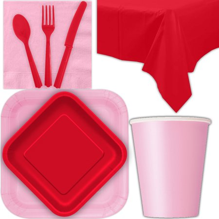 Disposable Party Supplies for 28 Guests - Lovely Pink and Ruby Red - Square Dinner Plates, Square Dessert Plates, Cups, Lunch Napkins, Cutlery, and Tablecloths:  Tableware