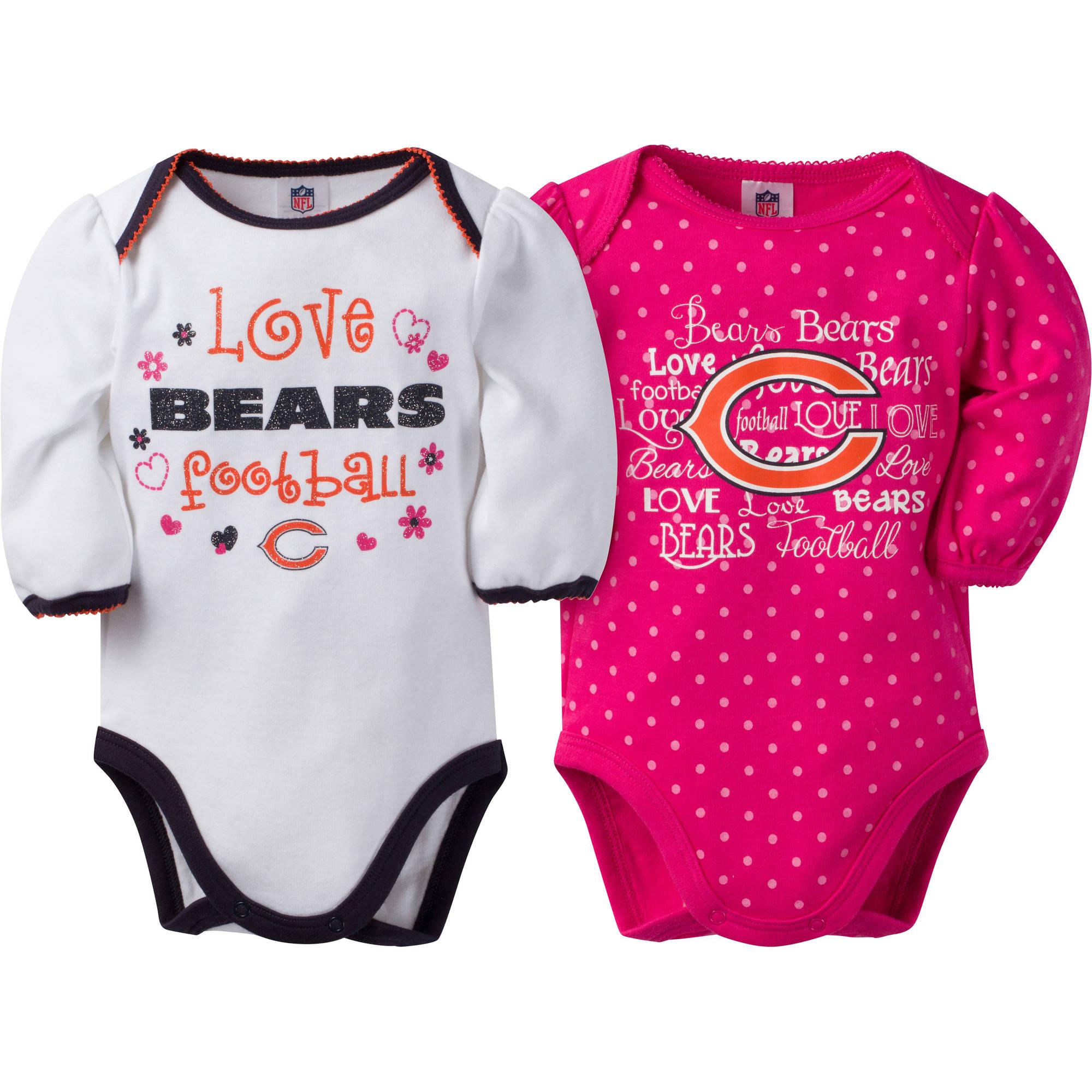 NFL Chicago Bears Baby Baby Girls Long Sleeve Bodysuit Set, 2-Pack