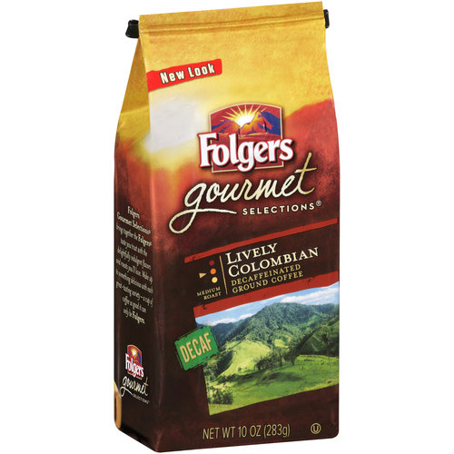 Folgers Gourmet Selections Lively Colombian Decaffeinated Ground Coffee, 10 oz