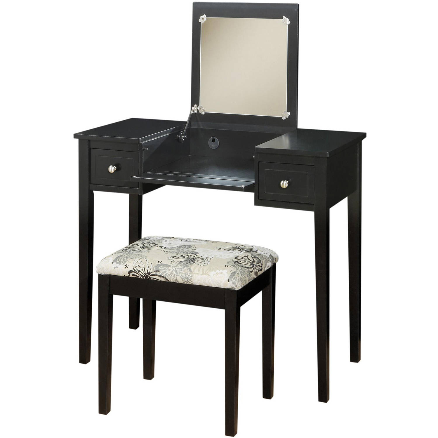 Linon Black Butterfly Vanity and Stool Set, 18.25 inch Stool ...