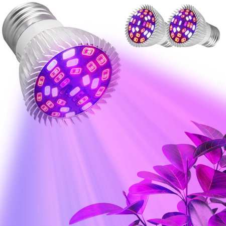 2-pack 28W Full Spectrum E26 E27 LEDs Grow Light Bulbs for Hydroponics Greenhouse Organic Indoor