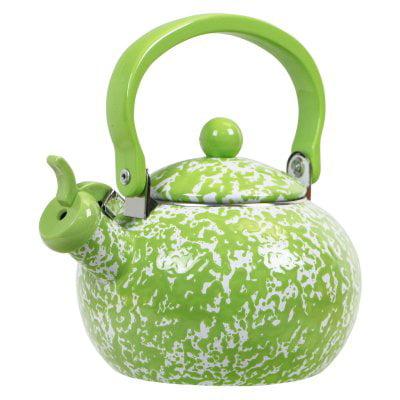 Calypso Basics, Marble Effect Harvest Whistling Teakettle, Lime Marble (Porcelain Tea Kettle Blue)
