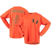 Miami Hurricanes Pressbox Women's Big Shirt Oversized Long Sleeve T-Shirt - Orange