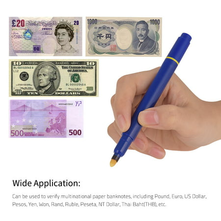 Portable Mini Banknote Tester Pen Counterfeit Money Detector Pen Money Marker Currency Cash Checker Fake Dollar Marker with Ball Point Pen for Dollar Euro Pound Yen Korean Won