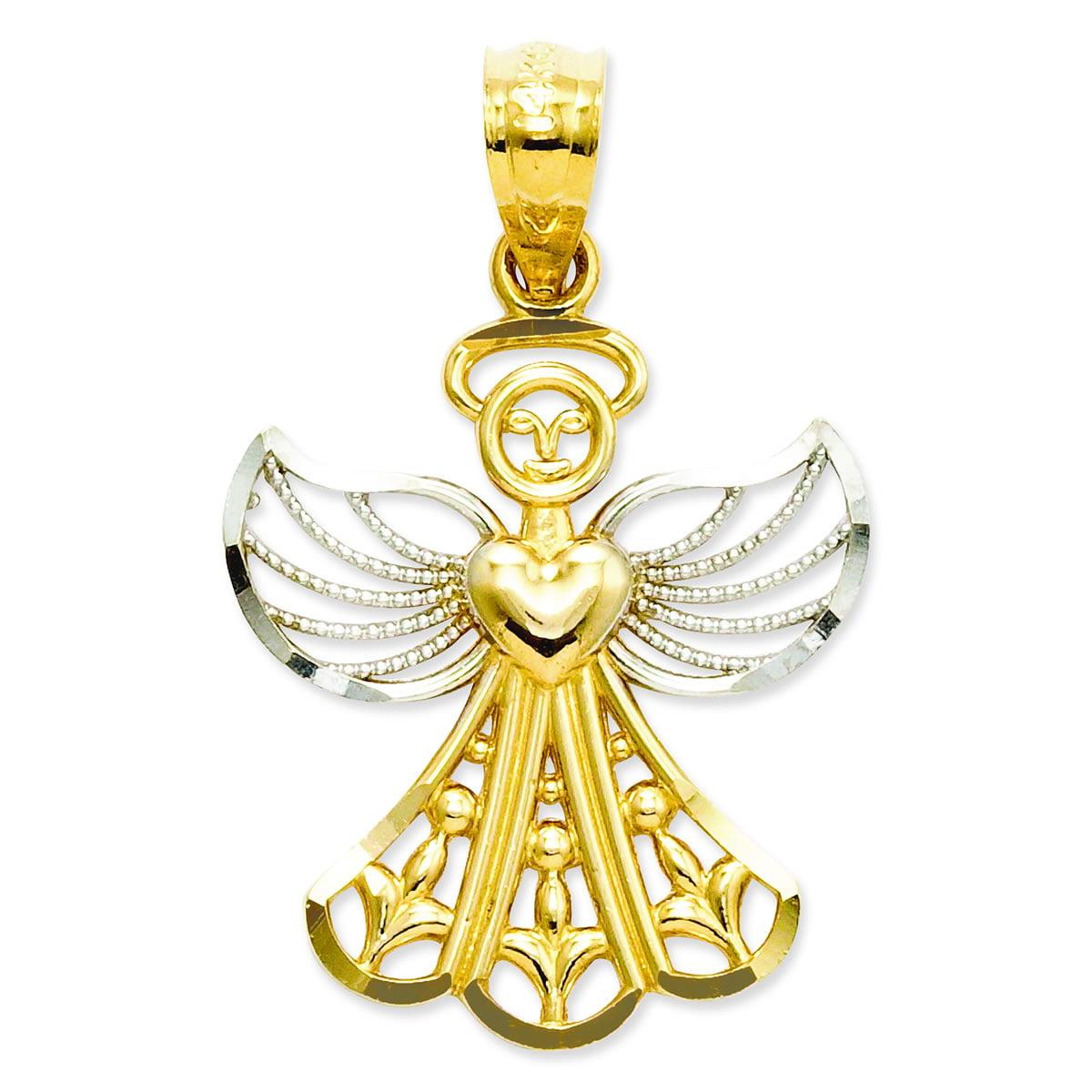 14k & Rhodium Filigree Angel Pendant