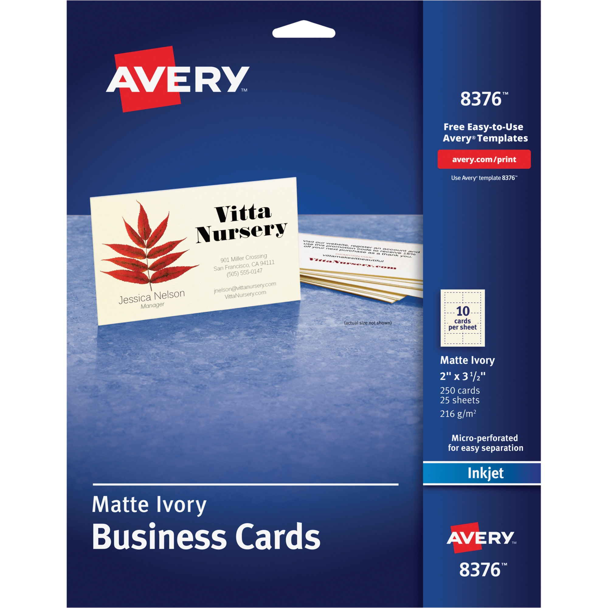 Avery Printable Microperf Business Cards, Inkjet, 2 x 3 1/2, Ivory ...