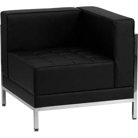 Black Leather Modular Right Corner Chair with Quilted Tufted Seat ()