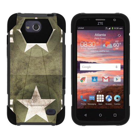 TurtleArmor ® | For ZTE Majesty Pro [Dynamic Shell] Dual Layer Hybrid Silicone Hard Shell Kickstand Case - Military Stars