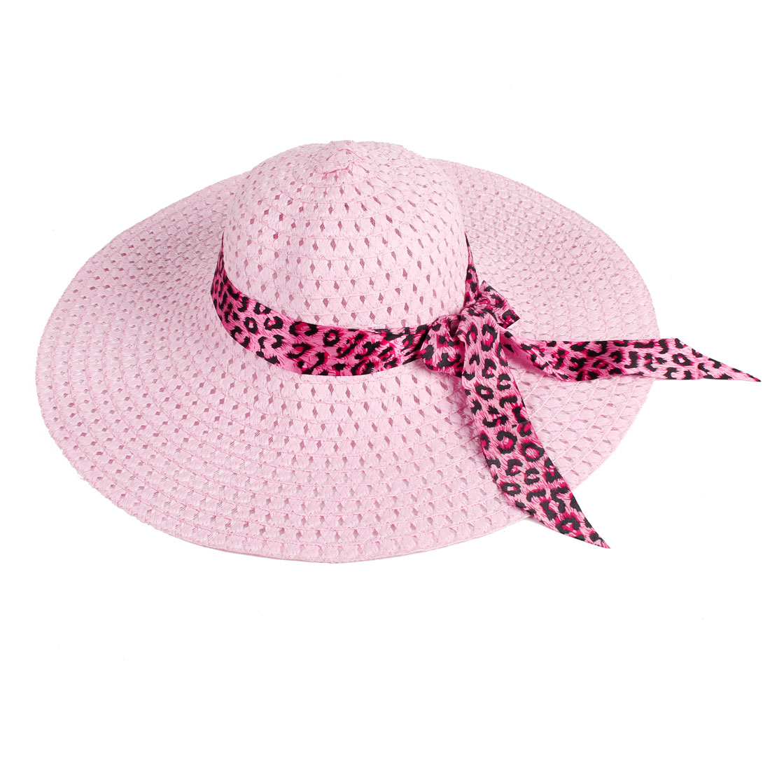 Woman 13.5cm Wide Brim Bowknot Accent Plastic Stitching Summer Beach Hat Pink