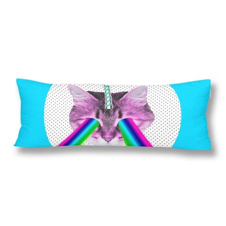 Abphoto Funny Pink Cat Unicorn Rainbow Body Pillow Covers