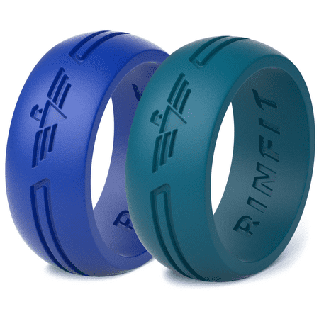 Silicone Rings | Rubber Wedding Band for Men 2 Rings Pack by Rinfit Soft and Safe Designed Silicone Wedding Ring