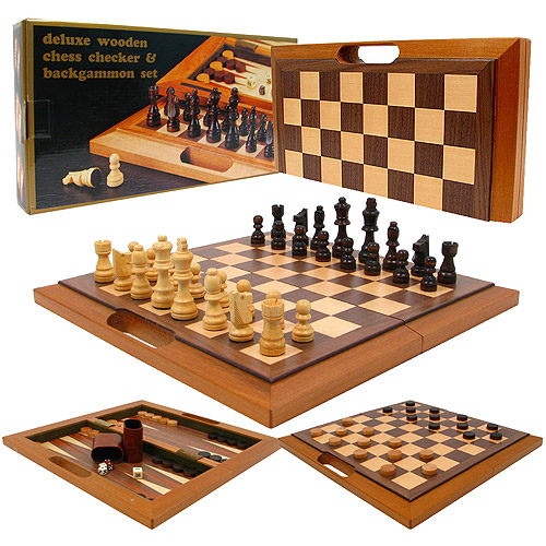 10 Inch Wooden 3-in-1 Chess with Folding Board Checkers and Backgammon Game Set