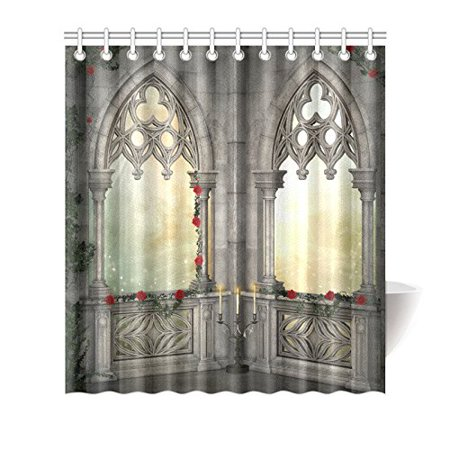 MYPOP Gothic Decor Vintage Ottoman Palace Balcony for Sultans with Red Rose Flowers Ivy Terrace Fabric Bathroom Shower Curtain 66 X 72 Inches, -