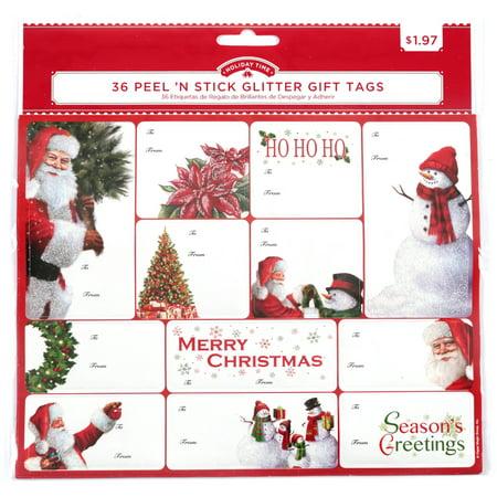 Peel \'N Stick Glitter Christmas Gift Tags, 36 ct - Walmart.com