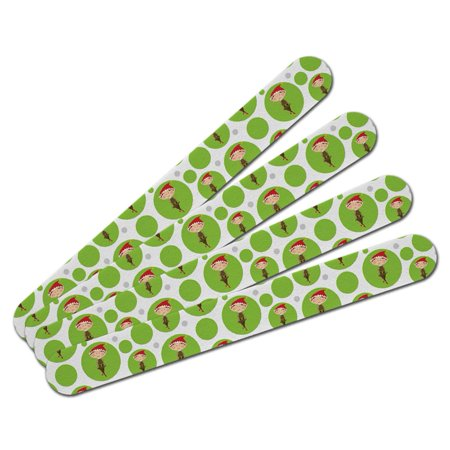 Christmas Girl Elf on Green Double-Sided Nail File Emery Board Set 4 - Elf Girl Pics