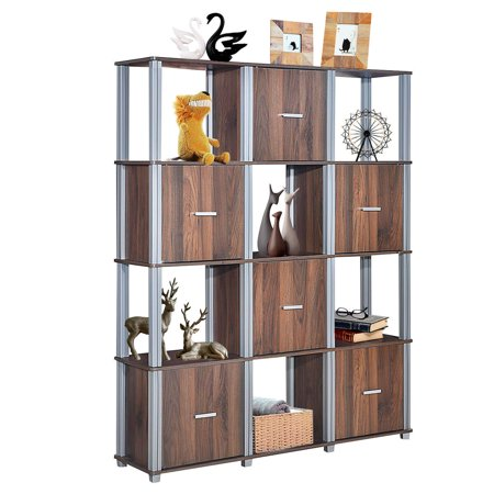 Costway 4-Tier Storage Shelf 12 Cube Organizer Unit Display Bookcase Walnut W/6 Doors