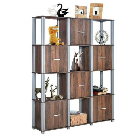 costway 4 tier storage shelf 12 cube organizer unit display bookcase walnut w 6 doors. Black Bedroom Furniture Sets. Home Design Ideas